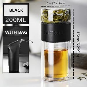 Image 5 - 200ml שכבה כפולה גבוהה בורוסיליקט זכוכית תה Infuser בקבוק כוס עם נירוסטה מסנן תיק למשרד ילד נשים חכם