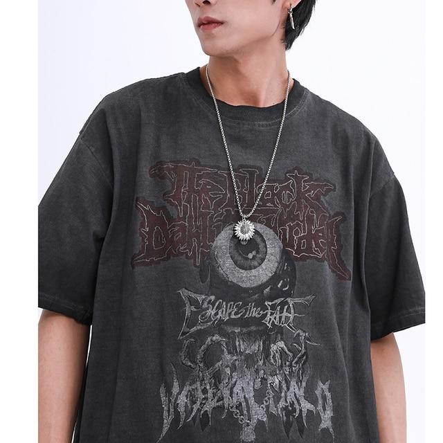Men T Shirt Hip Hop 2020 Dark Streetwear Tshirt Evil Eye Print Harajuku Summer Short Sleeve T-Shirt Cotton Tops Tees Oversize 4