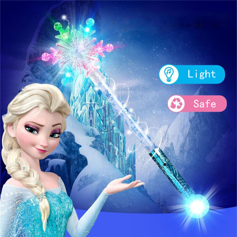 Ice Snow Queen 2 Elsa Anna Lighting Magic Wand Children Party Illuminate Glowing Scepter Wand Kid Girl Toy Christmas Gifts
