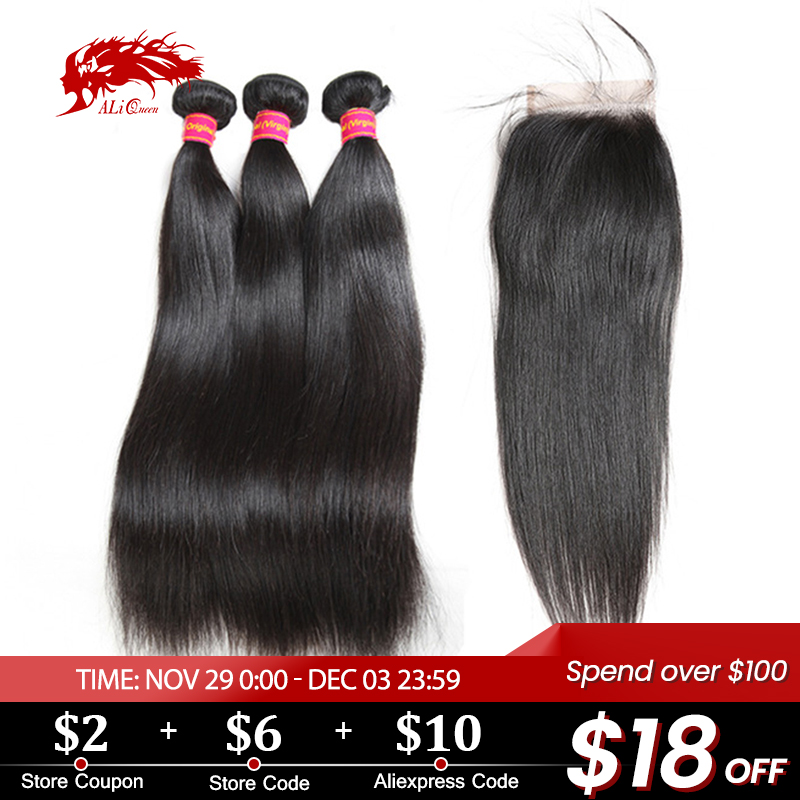 Ali Queen Brazilian Straight Virgin Hair Pro. 9A 3 Bundles With Lace Closure Free/Middle/Three Part Pre-Plucked Human Hair
