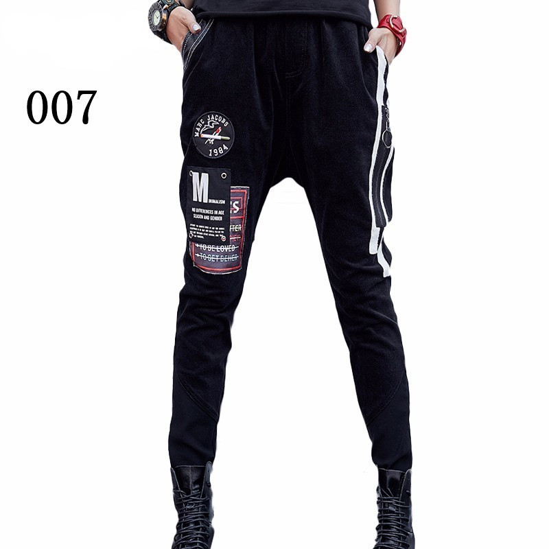 prined 本日の割引 Max 最大ルル春のファッションヴィンテージ弾性ハーレムパンツ韓国レディースブラックスキニーリッピング 39