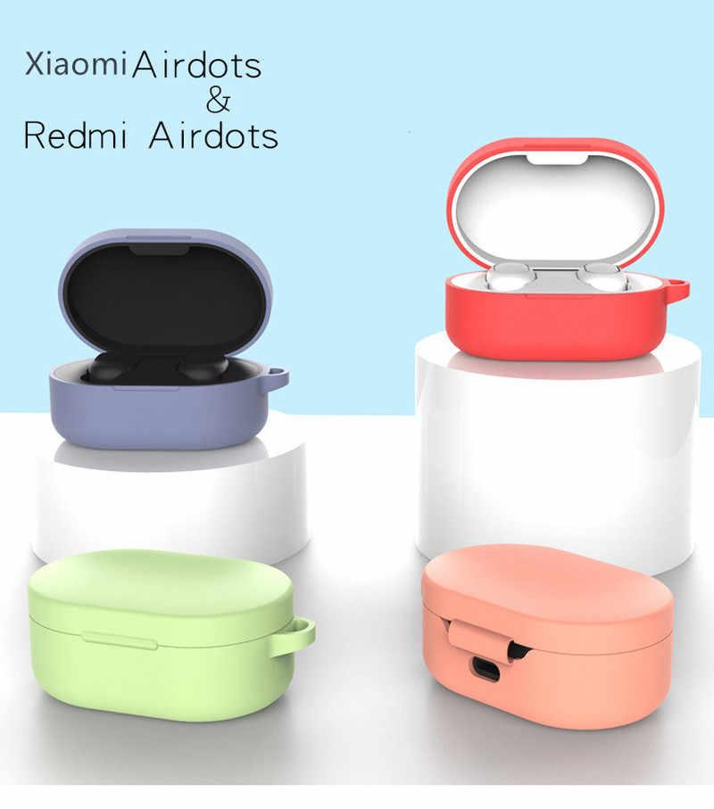 ソフトシリコンケース保護カバー xiaomi Redmi Airdots Bluetooth イヤホン若者のバージョンヘッドセットイヤホンケースとバックル