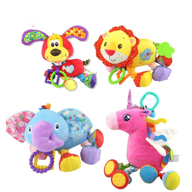 Baby Rattles  Educational Toys For Children Teether Toddlers Bed Stroller Hanging Dolls Plush Toys Unicorn Dog Lion Elephant