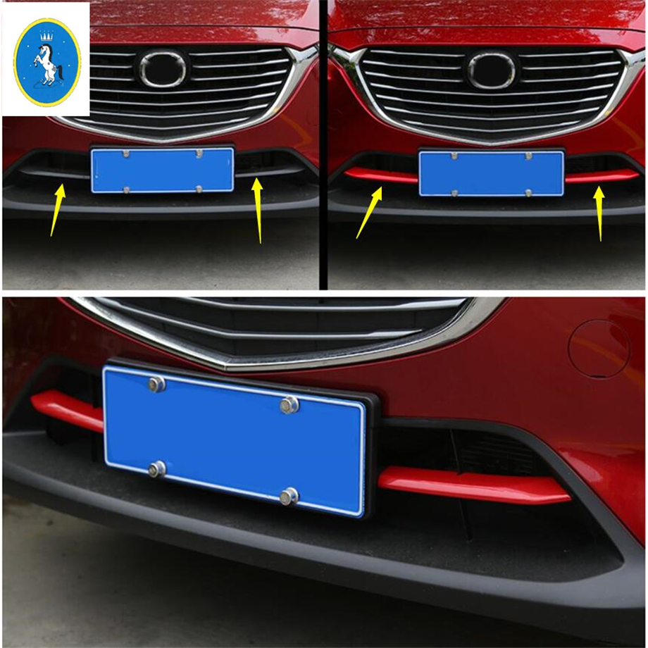 Yimaautotrims Auto Accessory Front Bumper Grille Grill Inserts Plate Cover Trim Fit For <font><b>Mazda</b></font> CX-3 <font><b>CX3</b></font> 2015 - <font><b>2019</b></font> ABS Chrome image