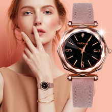 Gogoery Women Watches Fashion Starry Sky Watch Casual Women Watches Leather Band Quartz Watch Clock montre femme relogio mulher bobo bird hot selling bamboo wood watch men with leather band casual quartz wooden watches japan miytor relogio montre femme