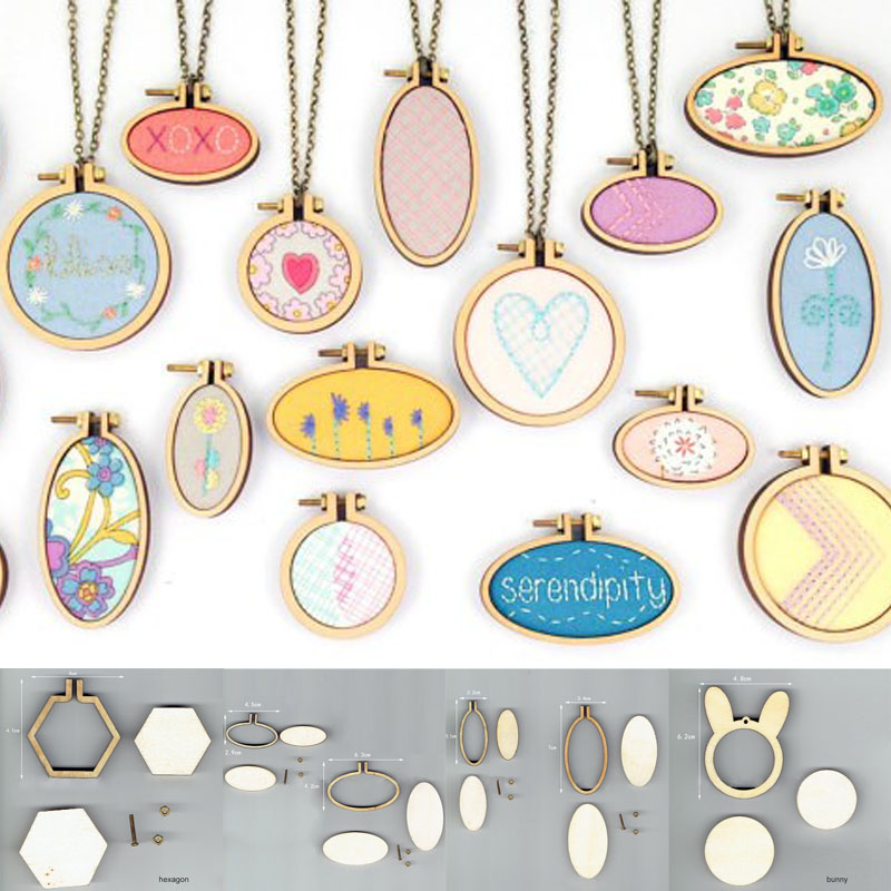 15 Types Mini Wooden Hoop Embroidery Hoop Embroidery Frame Ring DIY Crafts Cross-stitch Art Works Tool Sewing Accessories