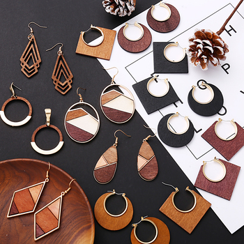 17KM Vintage Elegant Natural Wood Dangel Earrings For Women Fashion Bohemian Gold Geometric Splicing Hollow Drop.jpg 350x350 - 17KM Vintage Elegant Natural Wood Dangel Earrings For Women Fashion Bohemian Gold Geometric Splicing Hollow Drop Earring Jewelry