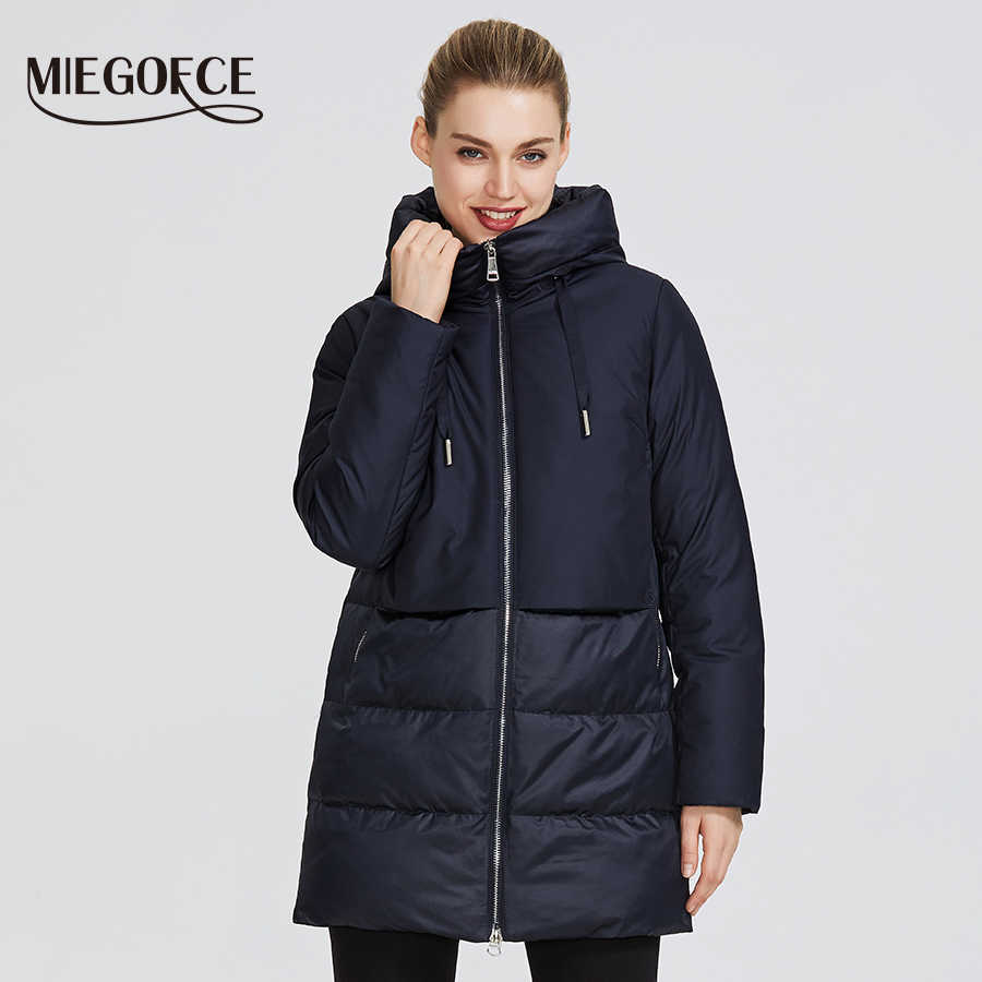 MIEGOFCE 2019 Winter Women's Collection Women's Warm Jacket and Gives a Wind-Resistant Collar Hooded Classic Sport Coat
