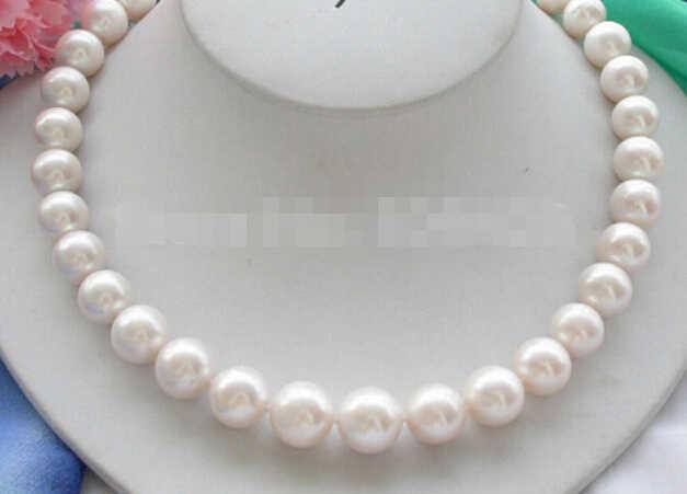 """927 +++ große 17 """"12mm weiße, runde Süßwasser zuchtperlen halskette"""