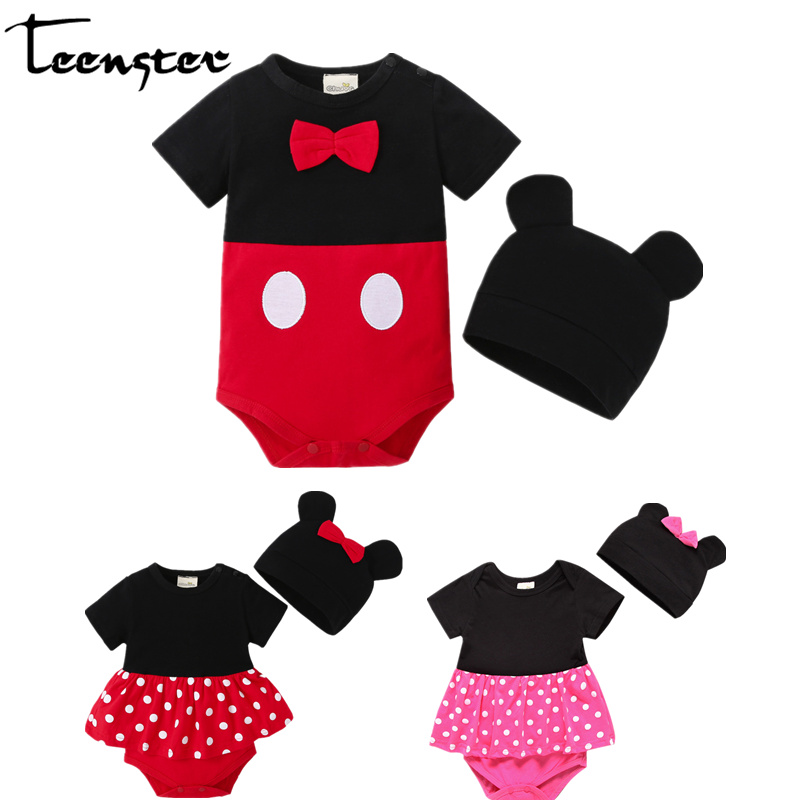 Teenster Twins Newborn One-Pieces Mickey Minnie Funny Style Baby Girl Romper With Hat Toddler Boy Costum Infant Girls Outfits