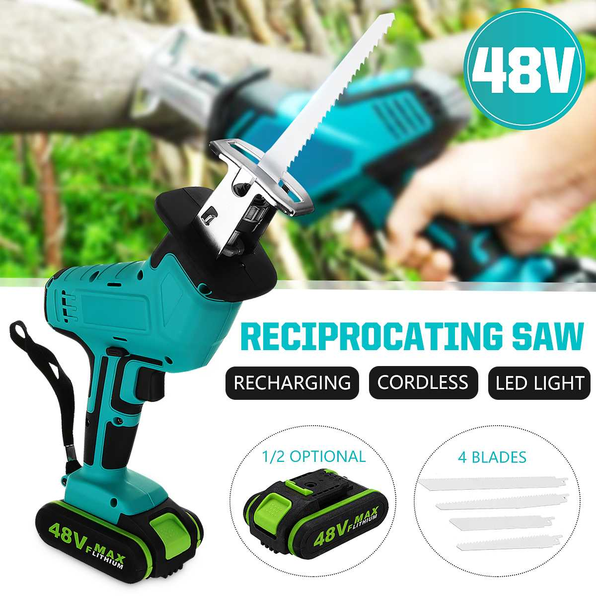 48V Battery Cordless Reciprocating Saw + 4 Saw Blade Metal Cutting Wood Tool Portable Woodworking Cutters with 1/2 Battery