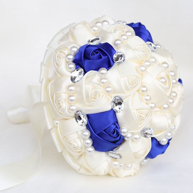 Bridal Wedding Bouquets Pearls Crystal Ivory Royal Blue Silk Wedding Flowers Bridal Glitter Bouquet Simple Buque Noiva Gift W234
