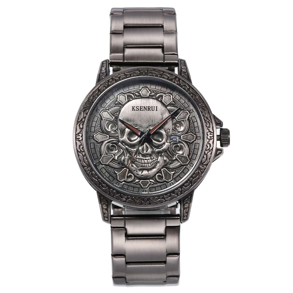Relogio Masculino Cool Skeleton Luxury Watch Men Skull Waterproof Stainless Steel Unique Big Brand KSENRUI Date Wristwatch Mens