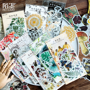 40-60 pcs Vintage Stickers Plant Flower Autumn Stickers for Diy Scrapbooking Bullet Journal Decoration Stationery Gift for Kids