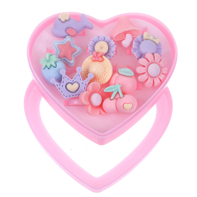 12pcs/lot Cartoon Flower Assorted Resin Plastic Pink Baby Kids Girl Children's Rings With Heart Box Gift Jewelry Craft Toy