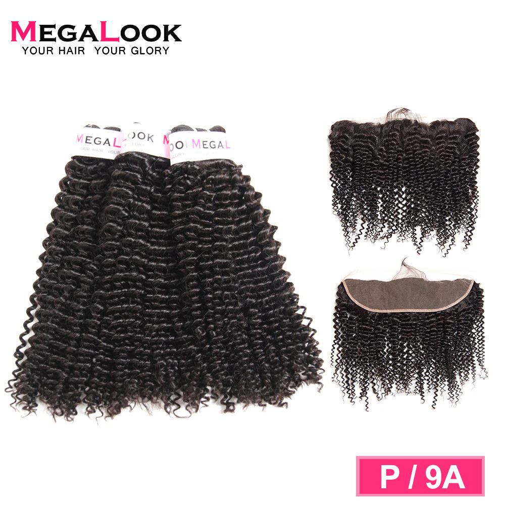 Megalook Kinky Curly Lace Frontal  With Bundles Peruvian Hair Bundles With Closure Remy Human Hair Bundles With Lace Frontal