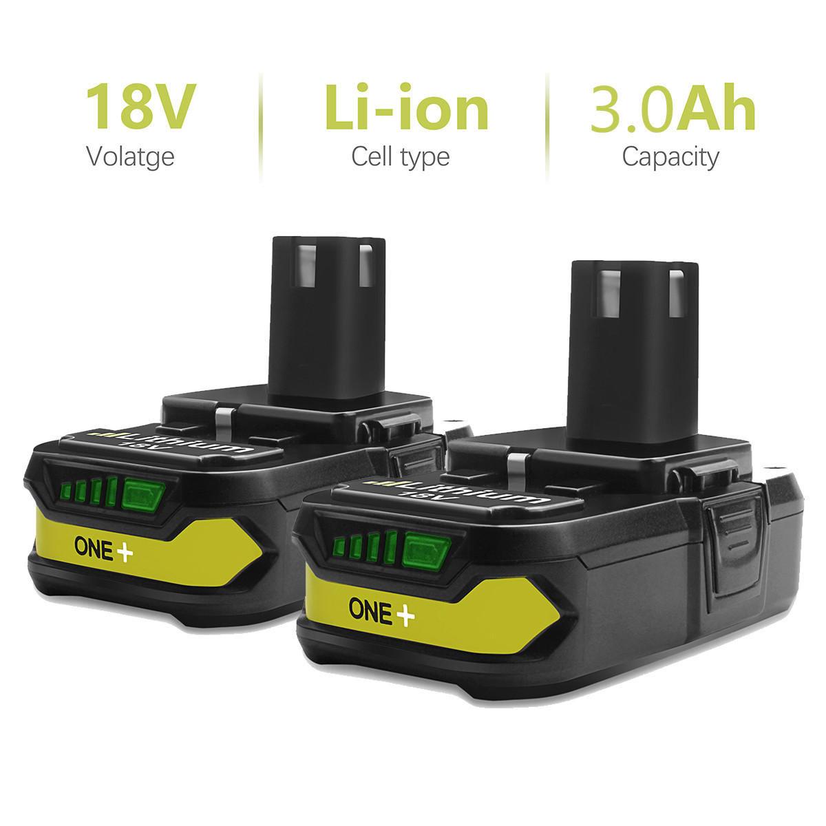 Bonacell 18V 3000mAh P107 Battery Replacement For Ryobi P104 P105 P102 P103 P107 Li-ion Battery Chargeable Power Tools Battery