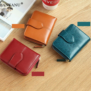 Image 5 - Billfold Oil Wax Genuine Leather Wallets Women Short Mini Clutch Purse Soild Coin Pocket Credit Card Holder Cowhide Bag