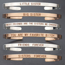 Best Friends Engraved Letters Copper Metal Cuff Bangle Bracelet Sisters Gifts Fashion Friendship for Women