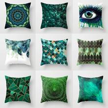 Funda de cojín verde de piel de melocotón con diseño geométrico de ojos, funda de almohada decorativa abstracta para sofá cama, sala de estar, decoración del hogar 45x45