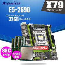 Atermiter X79 X79G материнская плата LGA2011 мини блок питания ATX комбо E5 2690 C2 SR0L0 Процессор 4 шт х 8 ГБ = 32 Гб DDR3 Оперативная память 1600 МГц PC3 12800R