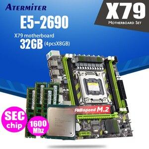 Image 1 - Atermiter carte mère X79 X79G LGA2011 mini ATX combos E5 2690 C2 SR0L0, processeur 4 pièces x 8 go = 32 go de RAM DDR3, 1600Mhz PC3 12800R
