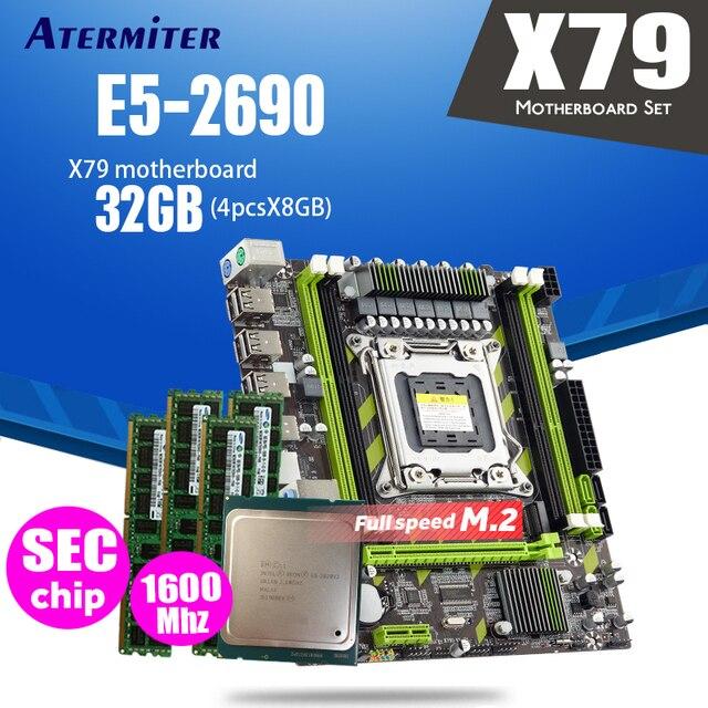 Atermiter carte mère X79 X79G LGA2011 mini ATX combos E5 2690 C2 SR0L0, processeur 4 pièces x 8 go = 32 go de RAM DDR3, 1600Mhz PC3 12800R