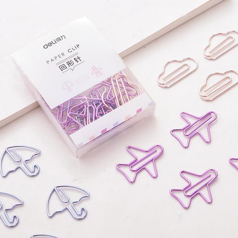12 Pcs/pack Mini Hollow Cloud Plane Umbrella Shape Paper Clips Clear Memo Photo Tickets Notes Letter Binder Clips Stationery