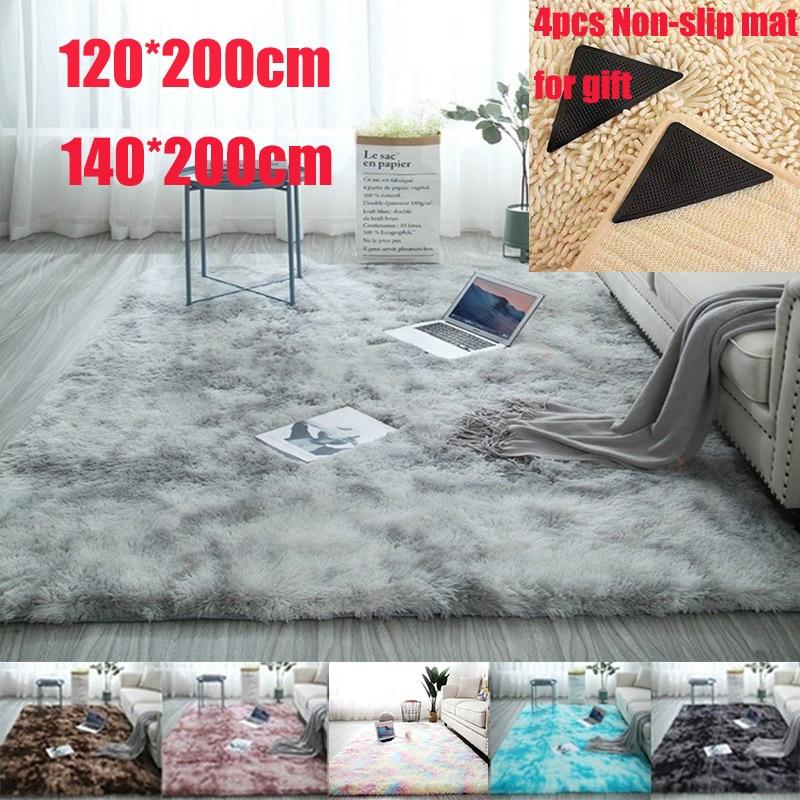 Large Size 120x200cm/140x200cm Super Soft Tie-Dye Art Carpet Floor Bedroom Mat Gradient Color Fluffy Area Rug Living Room Carpe