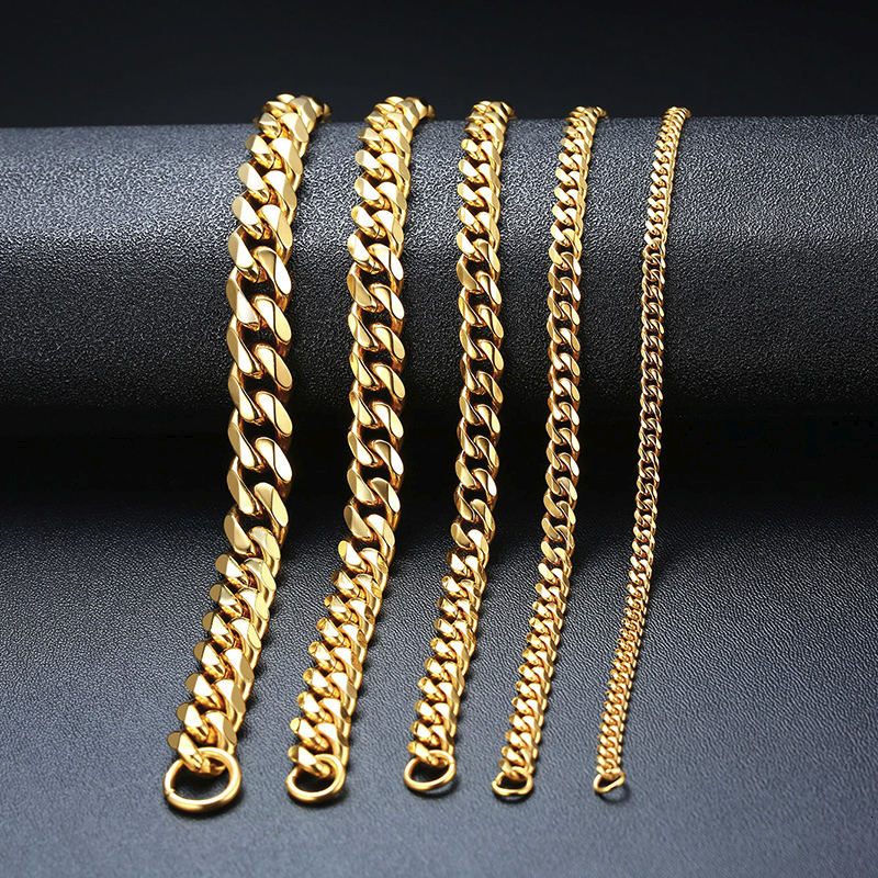 3 TO 11MM MENS MIAMI CUBAN LINK BRACELET IN STAINLESS STEEL ASSORTED COLORS 7 TO 9