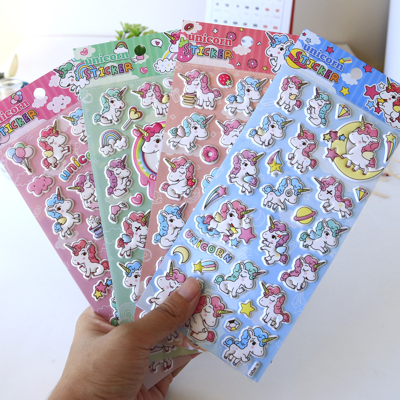 Unicorn Foam Bullet Journal 3D Decorative Colorful Stickers Diary Sticker Scrapbook Decoration PVC Stationery Stickers