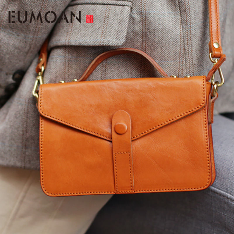 EUMOAN Simple Retro Super Fire portable small square bag, female casual leather oblique carry small bag