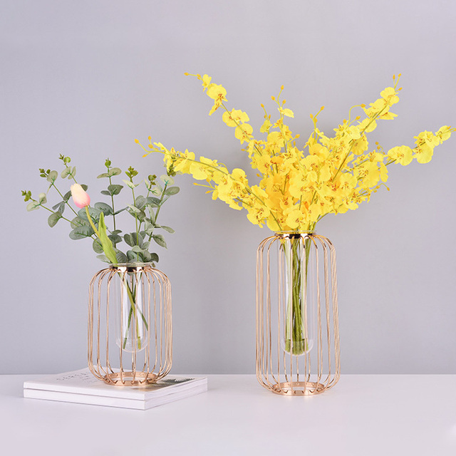 Glass Vases Rose Gold Metal Rack Light Luxury Lantern Shaped Flower Planter Terrariums Vase Home Office Centerpiece Morden Decor 2
