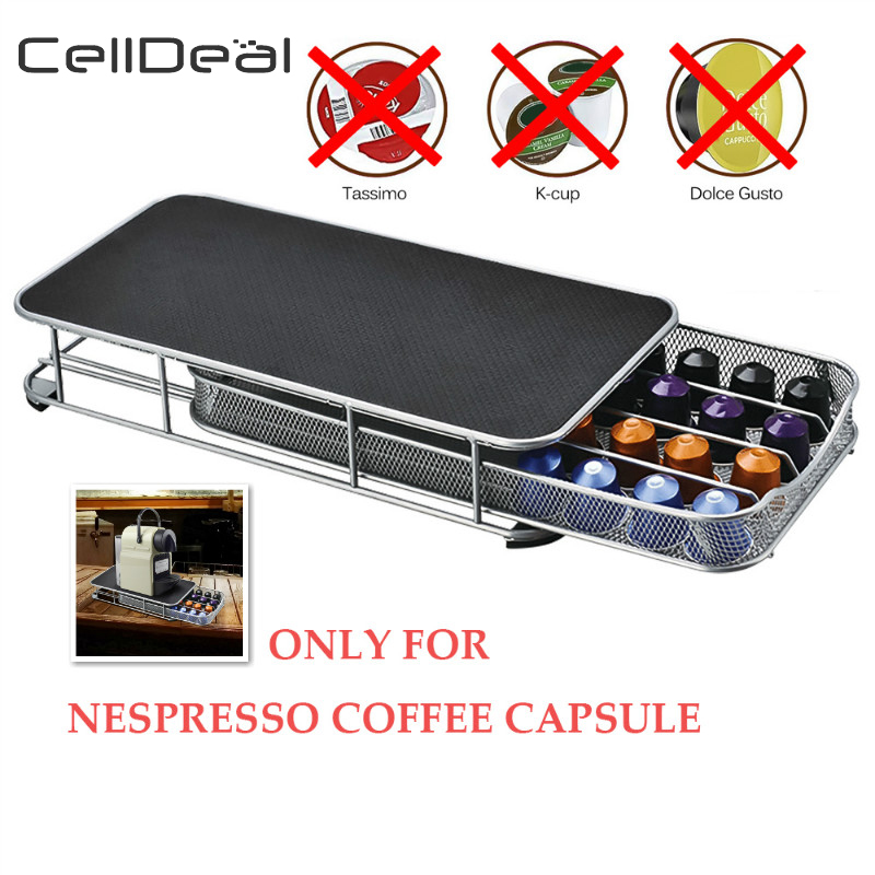 CellDeal Coffee Pod Holder Storage Drawer Coffee Capsules Organizer Rack For 40pcs Nespresso Capsules Coffee Display Stainless