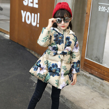 New Kids Winter Jackets for Girls Casual Hooded Zipper Outerwear Winter Coat Girl Cotton Padded Printed Baby Girls Clothes недорого