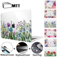 Mtt flor caso de cristal para macbook ar pro retina 11 12 13 15 16 com barra toque 2020 capa luva do portátil a1989 a1369 a2179