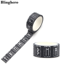 Blinghero 15mmX5m fajne runy dekoracyjne taśmy Washi czarna taśma klejąca taśmy Diy taśmy maskujące taśmy drukarskie naklejka w kształcie litery ZC0105 tanie tanio Taśma Maskująca Masking Tape Washi Tape Imported From Japan