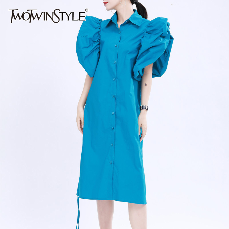TWOTWINSTYLE Elegant Lace Up Summer Dress Women O Neck Puff Sleeve Knee Length Ruched Casual Loose Dresses Female 2020 Colthes