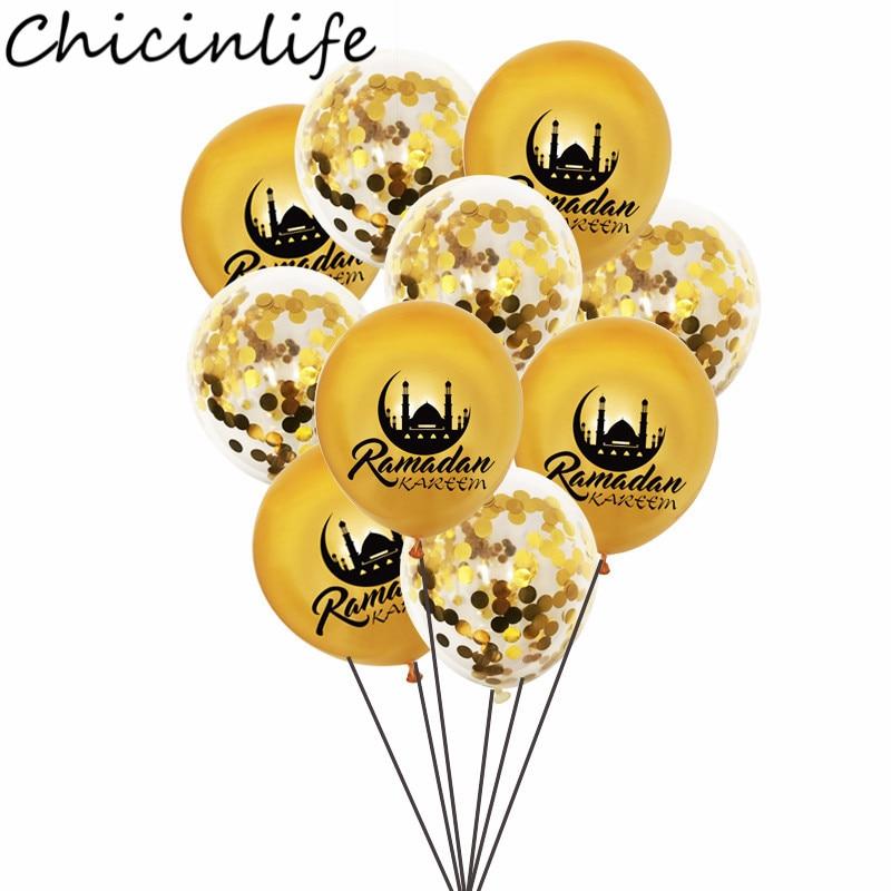 Chicinlife 10 pçs 12 polegada ramadan kareem látex balões eid mubarak decoração confetes balões islam muçulmano eid fontes de festa