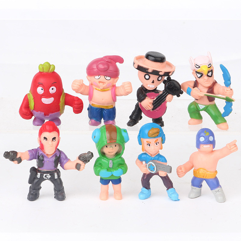 New 8pcs/lot SW Style Brawls Figure Game Anime Star Hero Model Spike Shelly Colt Leon Doll New Year Xmas Toy Gift For Children