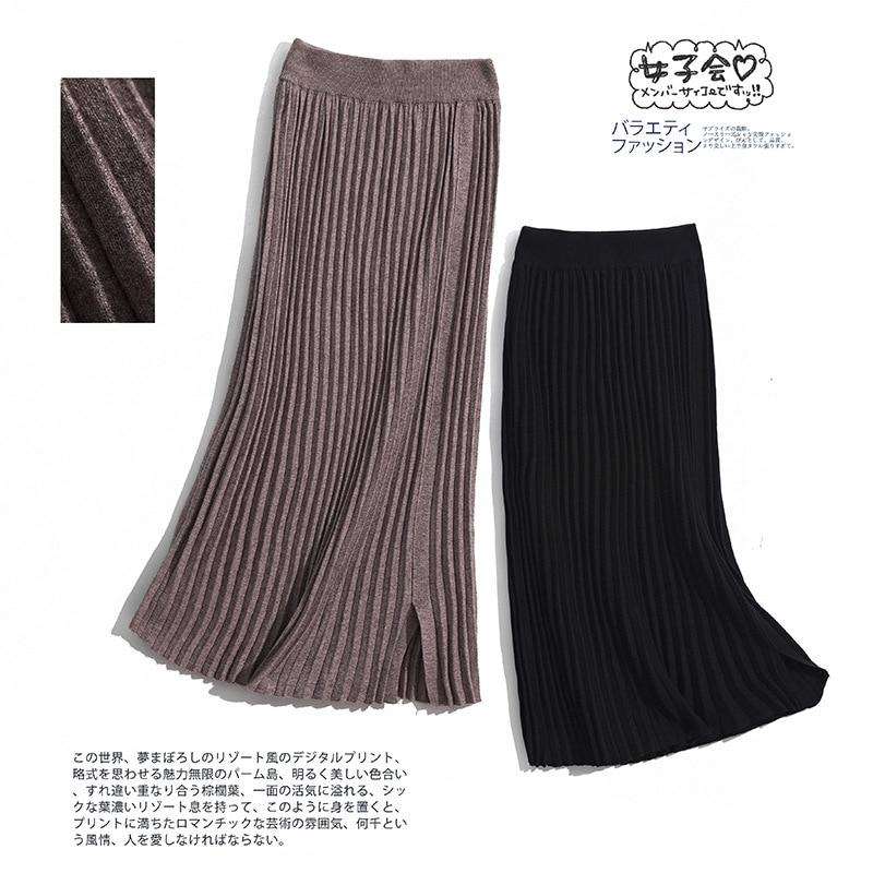 2019 Autumn New Style Knit Pleated Skirt Skirt Mid-length High-waisted Sheath Slit Skirt Women's Longuette