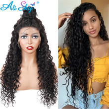 Alisky peluca brasileña de ondas al agua peluca con malla Frontal transparente HD para mujeres negras, peluca Frontal de encaje HD 13x6, peluca de cabello humano con encaje Frontal