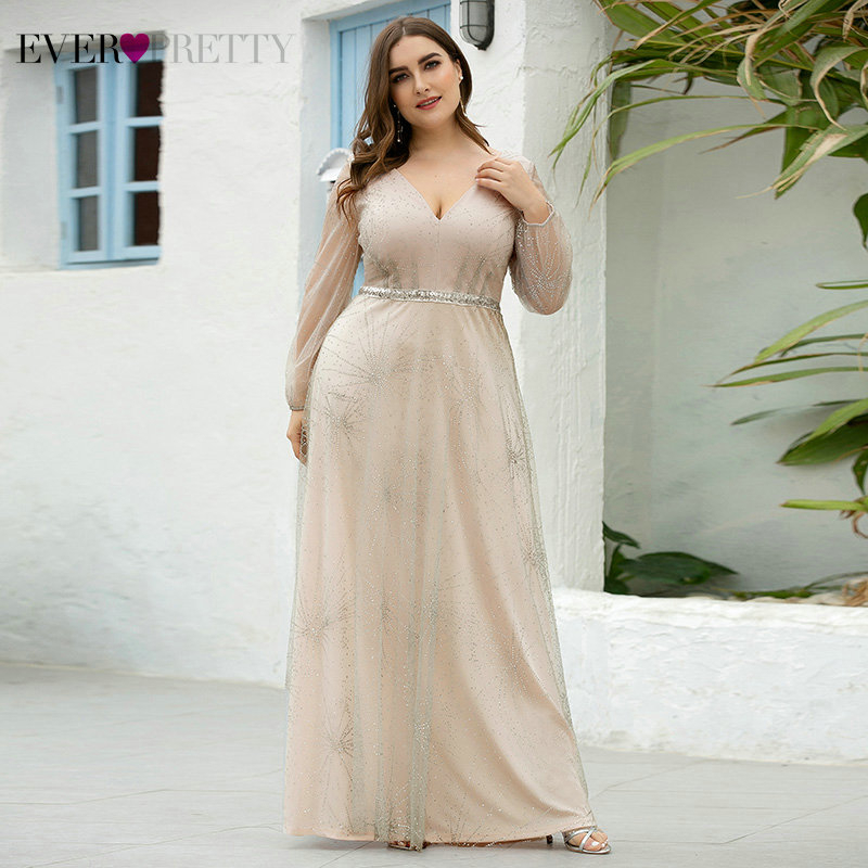 Plus Size Grey Prom Dresses Ever Pretty Sequined A-Line V-Neck Long Sleeve Tulle Sparkle Formal Party Gowns Vestido De Festa
