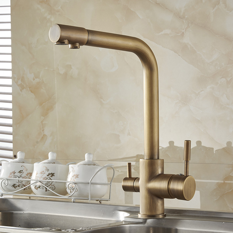 Brass Kitchen Faucets Antique 3 Way Water Filter Taps Dual Handle Chrome Crane High Arch Swivel Purifier Filtration Tap N22-072