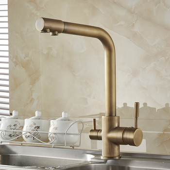 цена на Brass Kitchen Faucets Antique 3 Way Water Filter Taps Dual Handle Chrome Crane High Arch Swivel Purifier Filtration Tap N22-072
