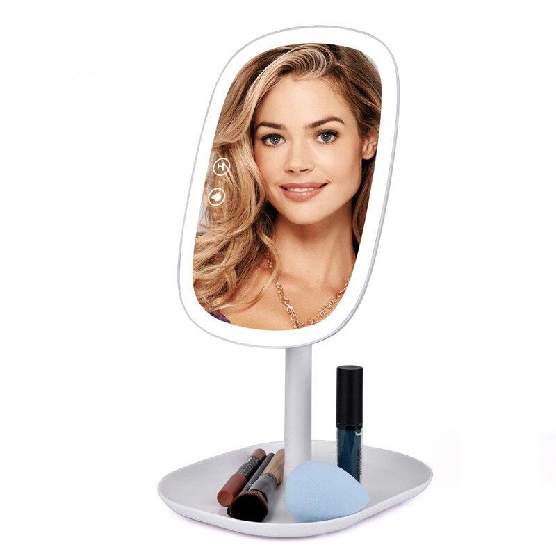 Настольное зеркало с 47 светодиодами, вращающееся на 360 градусов, с сенсорным экраном, косметическое зеркало, профессиональное косметическо