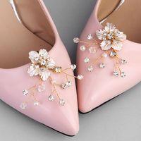 Fashion Women Shoes Flower Simple Bride Rhinestone Imitation Pearl Shoe Buckle DIY Wedding Jewelry Accessories