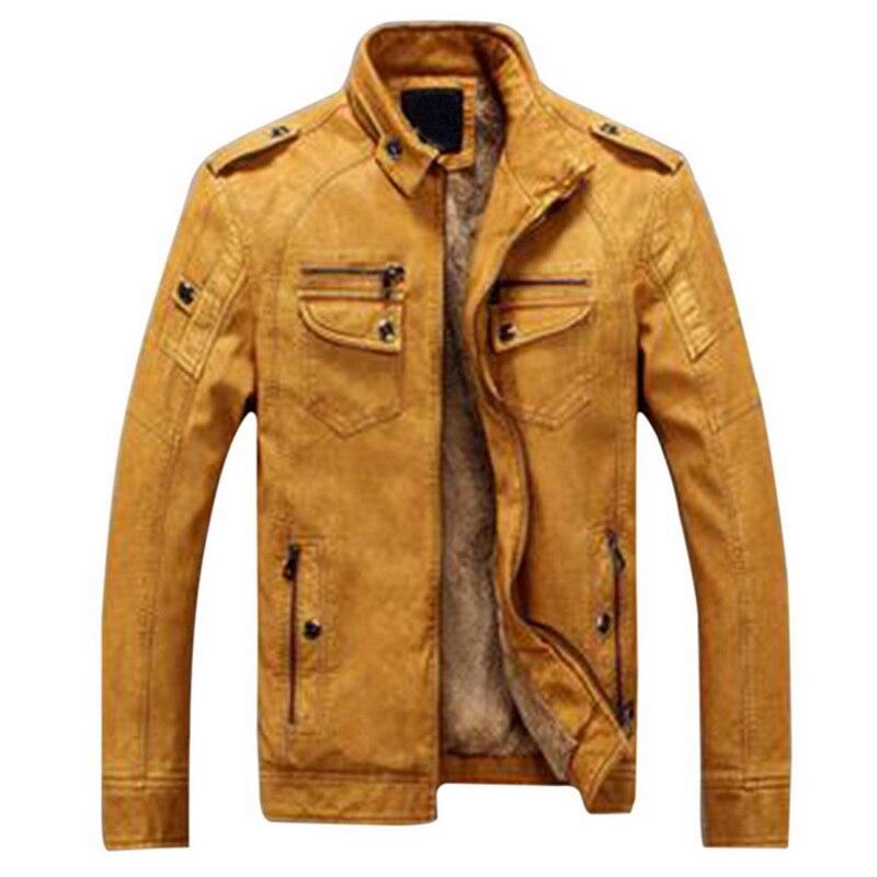 Hf2a00c11ed0c40c583047832a39eafb5N Luxury 2019 Leather Jackets Men Autumn Fleece Zipper Chaqueta Cuero Hombre Pockets Moto Jaqueta Masculino Couro Slim Warm Coat