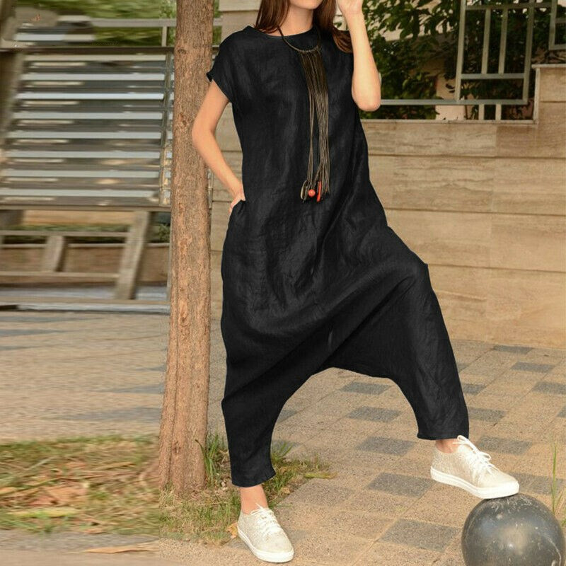 Women's Summer Casual Loose Jumpsuit Romper Playsuit Overalls Harem Pants S-5XL