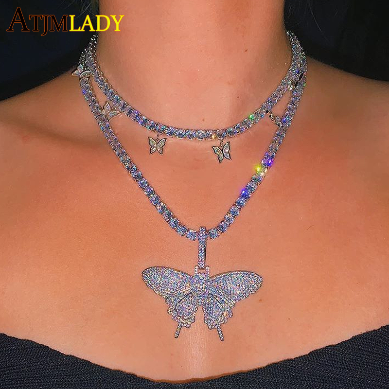 Butterfly Necklace Tennis-Chain Girl Jewelry Cool Hip-Hop Iced-Out Pink Bling Women Cz